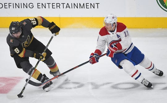 Dec 22, 2018; Las Vegas, NV, USA; Vegas Golden Knights right wing Alex Tuch (89) steals the puck from Montreal Canadiens right wing Brendan Gallagher (11) during the first period at T-Mobile Arena. Mandatory Credit: Stephen R. Sylvanie-USA TODAY Sports