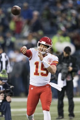 Dec 23, 2018; Seattle, WA, USA; Kansas City Chiefs quarterback Patrick Mahomes (15) during warmups prior to the game against the Seattle Seahawks at CenturyLink Field. Mandatory Credit: Steven Bisig-USA TODAY Sports