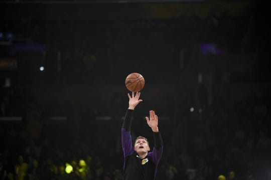 Dec 23, 2018; Los Angeles, CA, USA; Los Angeles Lakers center Moritz Wagner (15) warms up before the game against the Memphis Grizzlies at Staples Center. Mandatory Credit: Kelvin Kuo-USA TODAY Sports