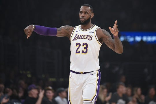 Dec 23, 2018; Los Angeles, CA, USA; Los Angeles Lakers forward LeBron James (23) reacts during the first quarter against the Memphis Grizzlies at Staples Center. Mandatory Credit: Kelvin Kuo-USA TODAY Sports