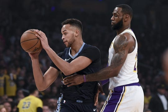 Dec 23, 2018; Los Angeles, CA, USA; Memphis Grizzlies forward Kyle Anderson (left) looks to pass while Los Angeles Lakers forward LeBron James (23) defends during the first quarter at Staples Center. Mandatory Credit: Kelvin Kuo-USA TODAY Sports