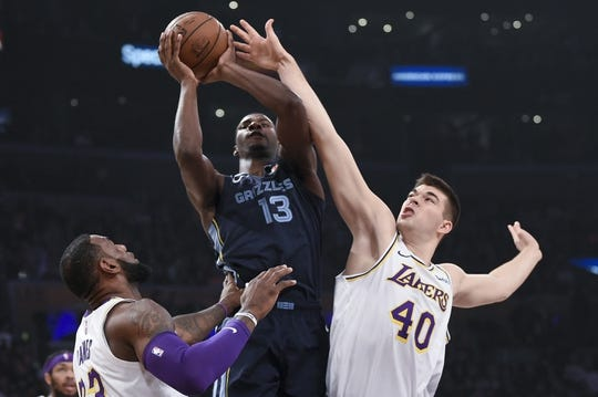 Dec 23, 2018; Los Angeles, CA, USA; Memphis Grizzlies forward Jaren Jackson Jr. (13) attempts a shot while Los Angeles Lakers center Ivica Zubac (40) defends during the first quarter at Staples Center. Mandatory Credit: Kelvin Kuo-USA TODAY Sports