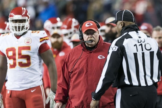 Dec 23, 2018; Seattle, WA, USA; Kansas City Chiefs head coach Andy Reid talks to 