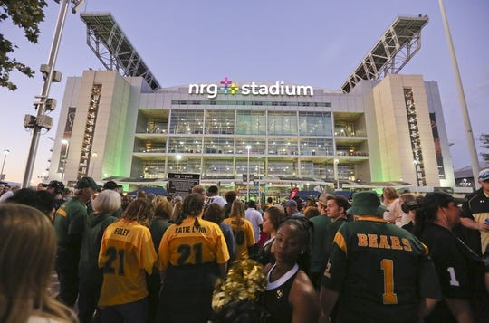 Dec 27, 2018; Houston, TX, United States; Baylor Bears fans make their way into the stadium before the Baylor Bears play against the Vanderbilt Commodores in the 2018 Texas Bowl at NRG Stadium. Mandatory Credit: Thomas B. Shea-USA TODAY Sports