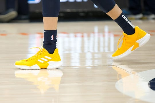 Dec 27, 2018; Salt Lake City, UT, USA; A detail photo of shoes worn by Utah Jazz guard Dante Exum (11) prior to a game against the Philadelphia 76ers at Vivint Smart Home Arena. Mandatory Credit: Russ Isabella-USA TODAY Sports