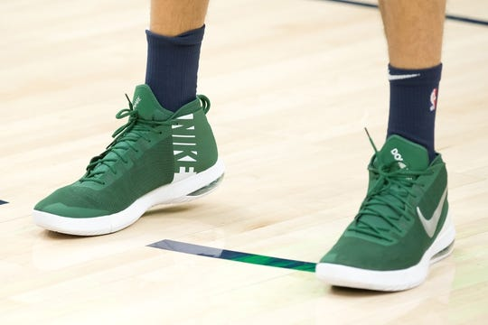 Dec 27, 2018; Salt Lake City, UT, USA; A detail photo of shoes worn by Utah Jazz center Rudy Gobert (27) prior to a game against the Philadelphia 76ers at Vivint Smart Home Arena. Mandatory Credit: Russ Isabella-USA TODAY Sports