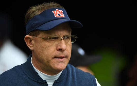 Dec 28, 2018; Nashville, TN, USA; Auburn Tigers head coach Gus Malzahn before the game against the Purdue Boilermakers in the 2018 Music City Bowl at Nissan Stadium. Mandatory Credit: Christopher Hanewinckel-USA TODAY Sports
