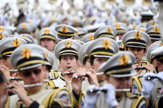 Dec 28, 2018; Nashville, TN, USA; The Purdue Boilermakers band performs before the game against the Auburn Tigers in the 2018 Music City Bowl at Nissan Stadium. Mandatory Credit: Christopher Hanewinckel-USA TODAY Sports