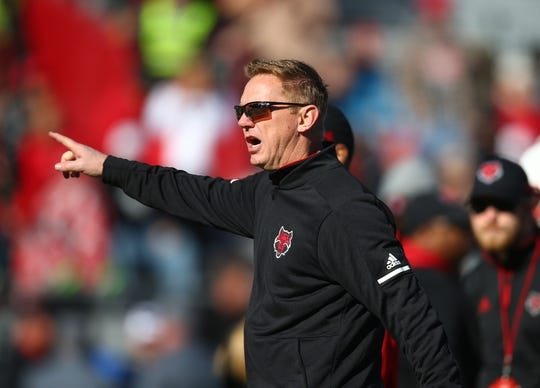 Dec 29, 2018; Tucson, AZ, USA; Arkansas State Red Wolves head coach Blake Anderson prior to the game against the Nevada Wolf Pack in the 2018 Arizona Bowl at Arizona Stadium. Mandatory Credit: Mark J. Rebilas-USA TODAY Sports