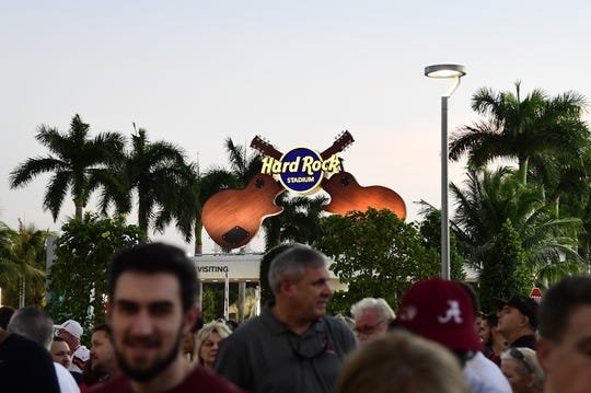 Dec 29, 2018; Miami Gardens, FL, USA; A general view of a Hard Rock Stadium logo while fans wait in line prior to the 2018 Orange Bowl college football playoff semifinal game between the Alabama Crimson Tide and the Oklahoma Sooners. Mandatory Credit: Tommy Gilligan-USA TODAY Sports