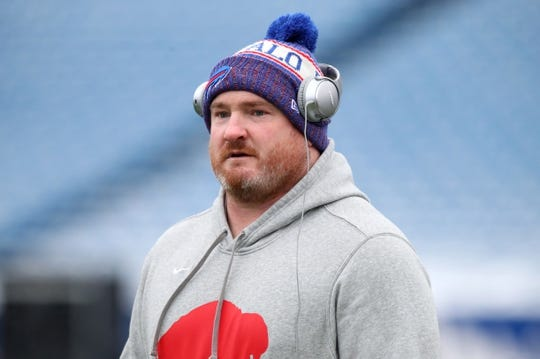 Dec 30, 2018; Orchard Park, NY, USA; Buffalo Bills defensive tackle Kyle Williams (95) walks on the field prior to the game against the Miami Dolphins at New Era Field. Mandatory Credit: Rich Barnes-USA TODAY Sports