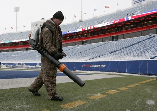 Dec 30, 2018; Orchard Park, NY, USA; A field worker blows snow off the field before a game between the Buffalo Bills and the Miami Dolphins at New Era Field. Mandatory Credit: Timothy T. Ludwig-USA TODAY Sports