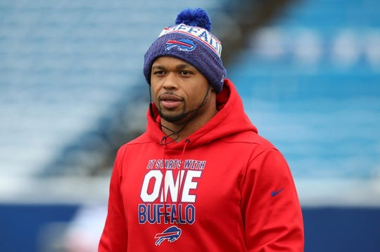 Dec 30, 2018; Orchard Park, NY, USA; Buffalo Bills outside linebacker Lorenzo Alexander (57) walks on field prior to the game against the Miami Dolphins at New Era Field. Mandatory Credit: Rich Barnes-USA TODAY Sports