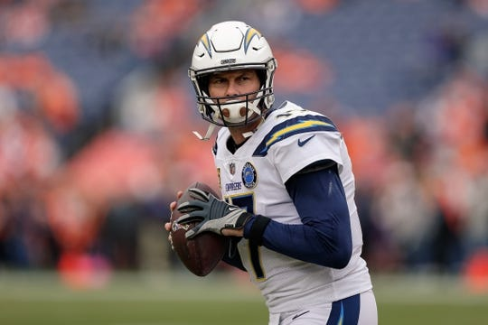 Dec 30, 2018; Denver, CO, USA; Los Angeles Chargers quarterback Philip Rivers (17) warms up before a game against the Denver Broncos at Broncos Stadium at Mile High. Mandatory Credit: Isaiah J. Downing-USA TODAY Sports