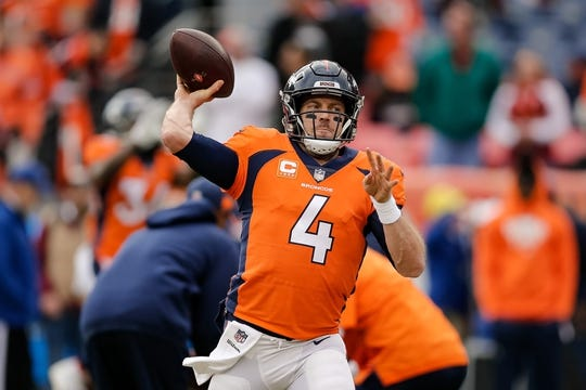 Dec 30, 2018; Denver, CO, USA; Denver Broncos quarterback Case Keenum (4) warms up before a game against the Los Angeles Chargers at Broncos Stadium at Mile High. Mandatory Credit: Isaiah J. Downing-USA TODAY Sports