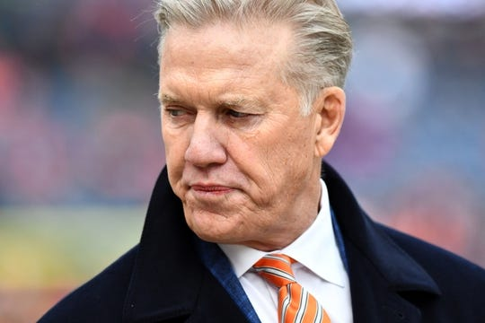 Dec 30, 2018; Denver, CO, USA; Denver Broncos general manager John Elway looks on before a game against the Los Angeles Chargers at Broncos Stadium at Mile High. Mandatory Credit: Ron Chenoy-USA TODAY Sports
