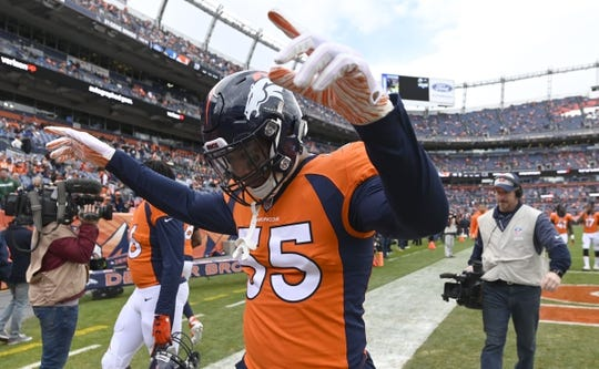Dec 30, 2018; Denver, CO, USA; Denver Broncos outside linebacker Bradley Chubb (55) reacts before a game against the Los Angeles Chargers at Broncos Stadium at Mile High. Mandatory Credit: Ron Chenoy-USA TODAY Sports
