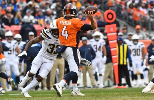 Dec 30, 2018; Denver, CO, USA; Los Angeles Chargers free safety Derwin James (33) pressures Denver Broncos quarterback Case Keenum (4) in the first half at Broncos Stadium at Mile High. Mandatory Credit: Ron Chenoy-USA TODAY Sports