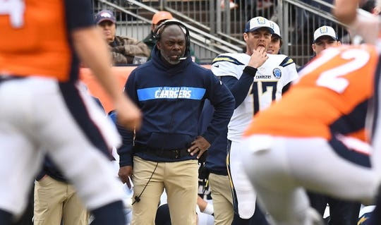 Dec 30, 2018; Denver, CO, USA; Los Angeles Chargers head coach Anthony Lynn watches from the sidelines during the first half against the Denver Broncos at Broncos Stadium at Mile High. Mandatory Credit: Ron Chenoy-USA TODAY Sports
