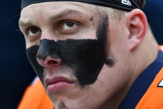 Dec 30, 2018; Denver, CO, USA; Denver Broncos offensive tackle Garett Bolles (72) during the first quarter against the Los Angeles Chargers at Broncos Stadium at Mile High. Mandatory Credit: Ron Chenoy-USA TODAY Sports