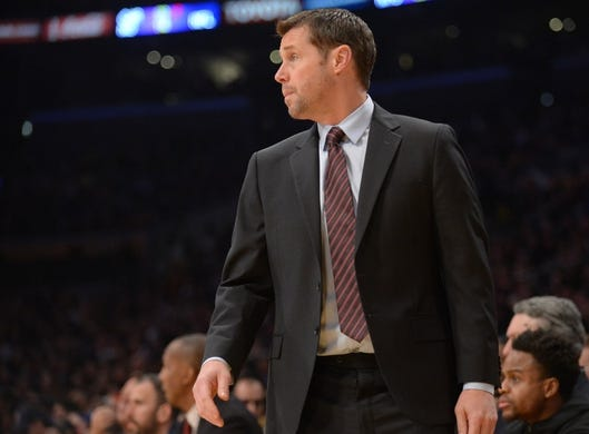 December 30, 2018; Los Angeles, CA, USA; Sacramento Kings head coach David Joerger watches game action against the Los Angeles Lakers during the first half at Staples Center. Mandatory Credit: Gary A. Vasquez-USA TODAY Sports