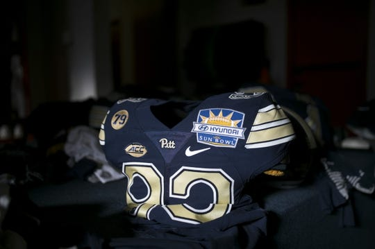 Dec 31, 2018; El Paso, TX, United States; Pittsburgh Panthers locker room before facing the Stanford Cardinal in the 85th edition of the Sun Bowl game at Sun Bowl Stadium. Mandatory Credit: Ivan Pierre Aguirre-USA TODAY Sports