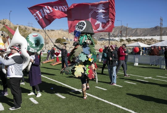 Dec 31, 2018; El Paso, TX, United States; The Stanford band's mascot is seen wearing a giant Beto O'Rourke pin before the 85th edition of the Sun Bowl game at Sun Bowl Stadium. O'Rourke is from El Paso. Mandatory Credit: Ivan Pierre Aguirre-USA TODAY Sports