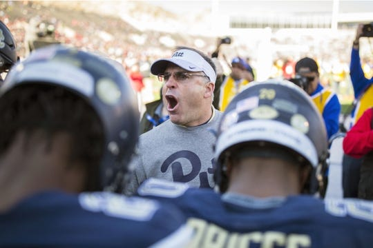 Dec 31, 2018; El Paso, TX, United States; Pittsburgh Panthers head coach Pat Narduzzi speaks to his players before facing the Stanford Cardinal at Sun Bowl Stadium. Mandatory Credit: Ivan Pierre Aguirre-USA TODAY Sports