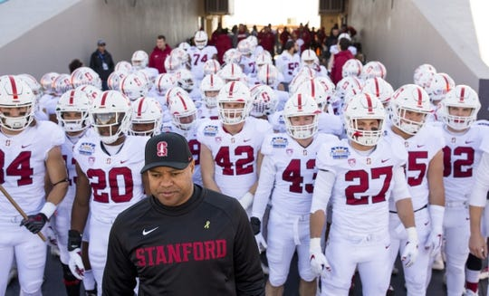 Dec 31, 2018; El Paso, TX, United States; Stanford Cardinal head coach David Shaw waits to lead his team on the field to face the Pittsburgh Panthers at Sun Bowl Stadium. Mandatory Credit: Ivan Pierre Aguirre-USA TODAY Sports