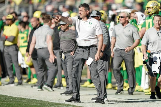 Dec 31, 2018; Santa Clara, CA, USA; Oregon Ducks head coach Mario Cristobal reacts against the Michigan State Spartans during the second quarter at Levi's Stadium. Mandatory Credit: Stan Szeto-USA TODAY Sports