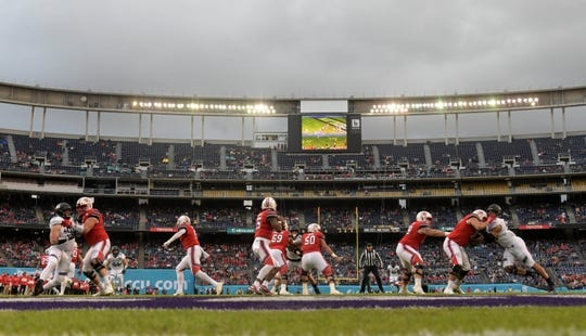 Dec 31, 2018; San Diego, CA, United States; General overall view as Utah Utes quarterback Jason Shelley (15) throws a pass in the first quarter against the Northwestern Wildcatsin the 2018 Holiday Bowl at SDCCU Stadium. Mandatory Credit: Kirby Lee-USA TODAY Sports