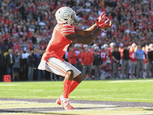 Jan 1, 2019; Pasadena, CA, USA; Ohio State Buckeyes wide receiver Parris Campbell (21) makes a catch for a touchdown against the Washington Huskies in the first quarter in the 2019 Rose Bowl at Rose Bowl Stadium. Mandatory Credit: Gary A. Vasquez-USA TODAY Sports