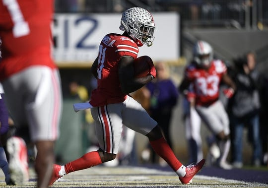 Jan 1, 2019; Pasadena, CA, USA; Ohio State Buckeyes wide receiver Parris Campbell (21) makes a catch for a touchdown in the first quarter against the Washington Huskies in the 2019 Rose Bowl at Rose Bowl Stadium. Mandatory Credit: Kelvin Kuo-USA TODAY Sports