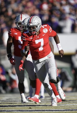 Jan 1, 2019; Pasadena, CA, USA; Ohio State Buckeyes quarterback Dwayne Haskins (7) celebrates making a pass for a touchdown in the first quarter against the Washington Huskies in the 2019 Rose Bowl at Rose Bowl Stadium. Mandatory Credit: Kelvin Kuo-USA TODAY Sports
