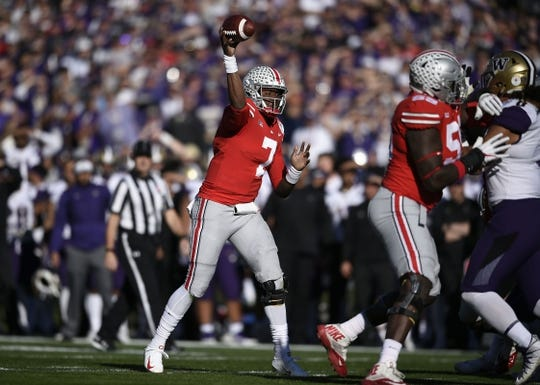 Jan 1, 2019; Pasadena, CA, USA; Ohio State Buckeyes quarterback Dwayne Haskins (7) throws a touchdown pass in the first quarter against the Washington Huskies in the 2019 Rose Bowl at Rose Bowl Stadium. Mandatory Credit: Kelvin Kuo-USA TODAY Sports