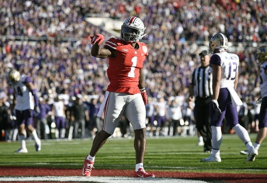 Jan 1, 2019; Pasadena, CA, USA; Ohio State Buckeyes wide receiver Johnnie Dixon (1) celebrates after making a catch for a touchdown in the second quarter against the Washington Huskies in the 2019 Rose Bowl at Rose Bowl Stadium. Mandatory Credit: Kelvin Kuo-USA TODAY Sports