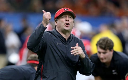 Jan 1, 2019; New Orleans, LA, USA; Georgia Bulldogs head coach Kirby Smart before the 2019 Sugar Bowl against the Texas Longhorns at the Mercedes-Benz Superdome. Mandatory Credit: Chuck Cook-USA TODAY Sports