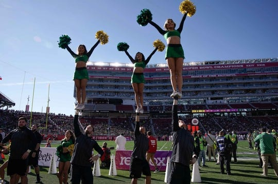 Dec 31, 2018; Santa Clara, CA, USA; Oregon Ducks cheerleaders perform for the fans in the game against the Michigan State Spartans during the first quarter at Levi's Stadium. Mandatory Credit: Stan Szeto-USA TODAY Sports