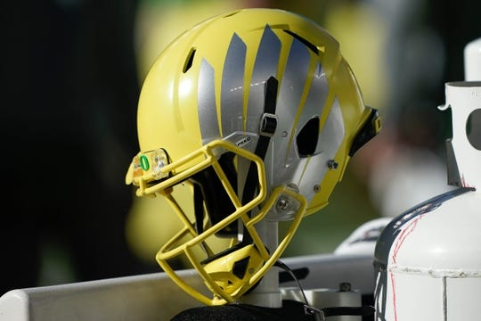 Dec 31, 2018; Santa Clara, CA, USA; General view of the Oregon Ducks helmet during the second quarter against the Michigan State Spartans at Levi's Stadium. Mandatory Credit: Stan Szeto-USA TODAY Sports