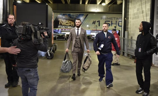 Jan 6, 2019; Chicago, IL, USA; Chicago Bears quarterback Mitchell Trubisky arrives before a NFC Wild Card playoff football game against the Philadelphia Eagles at Soldier Field. Mandatory Credit: Quinn Harris-USA TODAY Sports