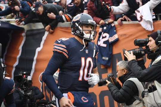 Jan 6, 2019; Chicago, IL, USA; Chicago Bears quarterback Mitchell Trubisky (10) takes the field before a NFC Wild Card playoff football game against the Philadelphia Eagles at Soldier Field. Mandatory Credit: Mike DiNovo-USA TODAY Sports