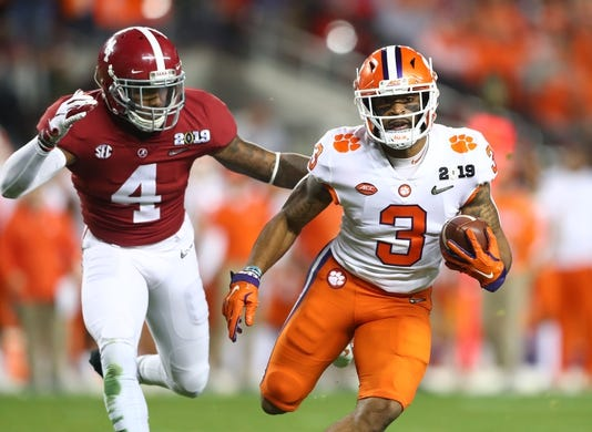 Jan 7, 2019; Santa Clara, CA, USA; Clemson Tigers wide receiver Amari Rodgers (3) runs the ball against the Alabama Crimson Tide in the second quarter during the 2019 College Football Playoff Championship game at Levi's Stadium. Mandatory Credit: Mark Rebilas-USA TODAY Sports