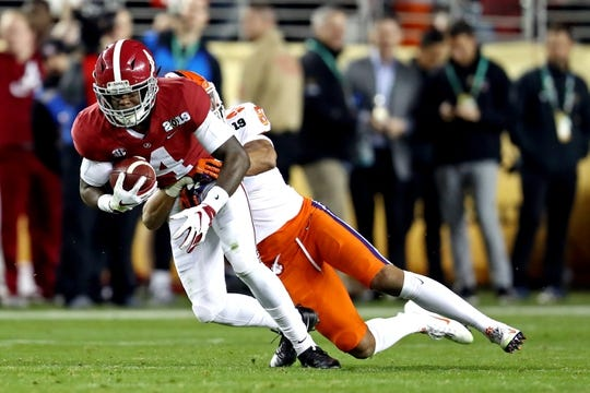 Jan 7, 2019; Santa Clara, CA, USA; Alabama Crimson Tide wide receiver Jerry Jeudy (4) runs the ball against Clemson Tigers cornerback A.J. Terrell (8) during the first half during the 2019 College Football Playoff Championship game at Levi's Stadium. Mandatory Credit: Matthew Emmons-USA TODAY Sports