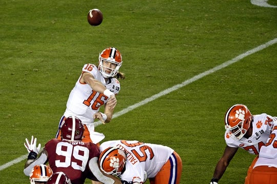 Jan 7, 2019; Santa Clara, CA, USA; Clemson Tigers quarterback Trevor Lawrence (16) throws a pass during the first half against the Alabama Crimson Tide during the 2019 College Football Playoff Championship game at Levi's Stadium. Mandatory Credit: Kelvin Kuo-USA TODAY Sports