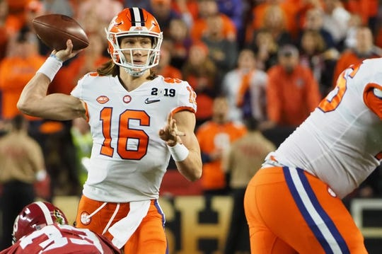 Jan 7, 2019; Santa Clara, CA, USA; Clemson Tigers quarterback Trevor Lawrence (16) looks to pass during the second quarter in the 2019 College Football Playoff Championship game against the Alabama Crimson Tide at Levi's Stadium. Mandatory Credit: Kelley L Cox-USA TODAY Sports