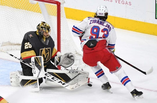 Jan 8, 2019; Las Vegas, NV, USA; Vegas Golden Knights goaltender Marc-Andre Fleury (29) makes a first period save against New York Rangers center Mika Zibanejad (93) at T-Mobile Arena. Mandatory Credit: Stephen R. Sylvanie-USA TODAY Sports