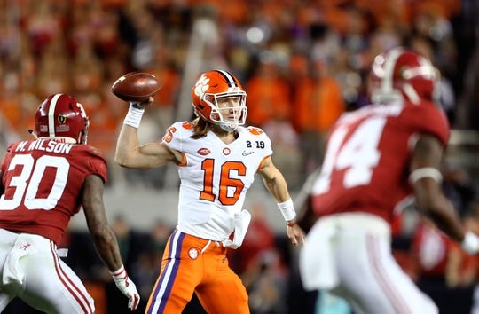 Jan 7, 2019; Santa Clara, CA, USA; Clemson Tigers quarterback Trevor Lawrence (16) against the Alabama Crimson Tide in the 2019 College Football Playoff Championship game at Levi's Stadium. Mandatory Credit: Mark J. Rebilas-USA TODAY Sports
