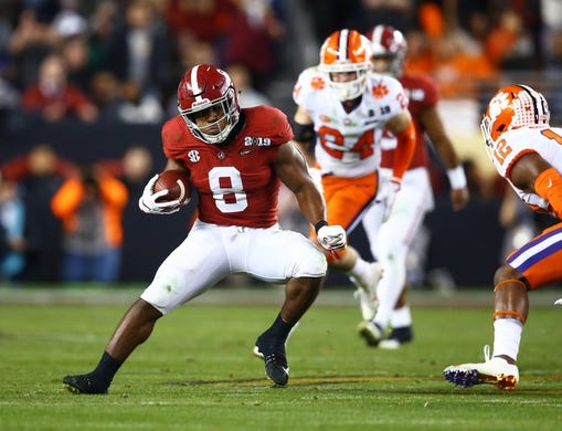 Jan 7, 2019; Santa Clara, CA, USA; Alabama Crimson Tide running back Josh Jacobs (8) against the Clemson Tigers during the 2019 College Football Playoff Championship game at Levi's Stadium. Mandatory Credit: Mark J. Rebilas-USA TODAY Sports