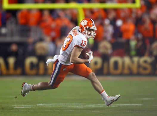 Jan 7, 2019; Santa Clara, CA, USA; Clemson Tigers wide receiver Hunter Renfrow (13) against the Alabama Crimson Tide in the 2019 College Football Playoff Championship game at Levi's Stadium. Mandatory Credit: Mark J. Rebilas-USA TODAY Sports