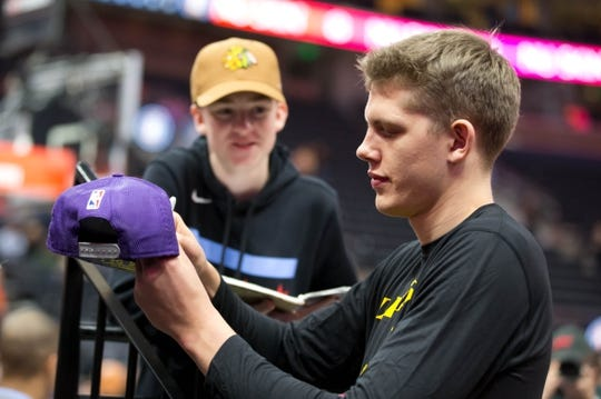 Jan 11, 2019; Salt Lake City, UT, USA; Los Angeles Lakers forward Moritz Wagner (15) signs autographs prior to a game against the Utah Jazz at Vivint Smart Home Arena. Mandatory Credit: Russ Isabella-USA TODAY Sports